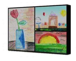 Tela collage con disegni di bambini