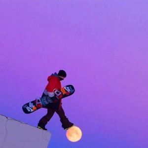 foto scattate al momento giusto - snowboarder sulla luna