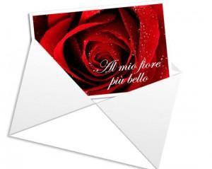 Bigliettino di San Valentino con rosa e dedica